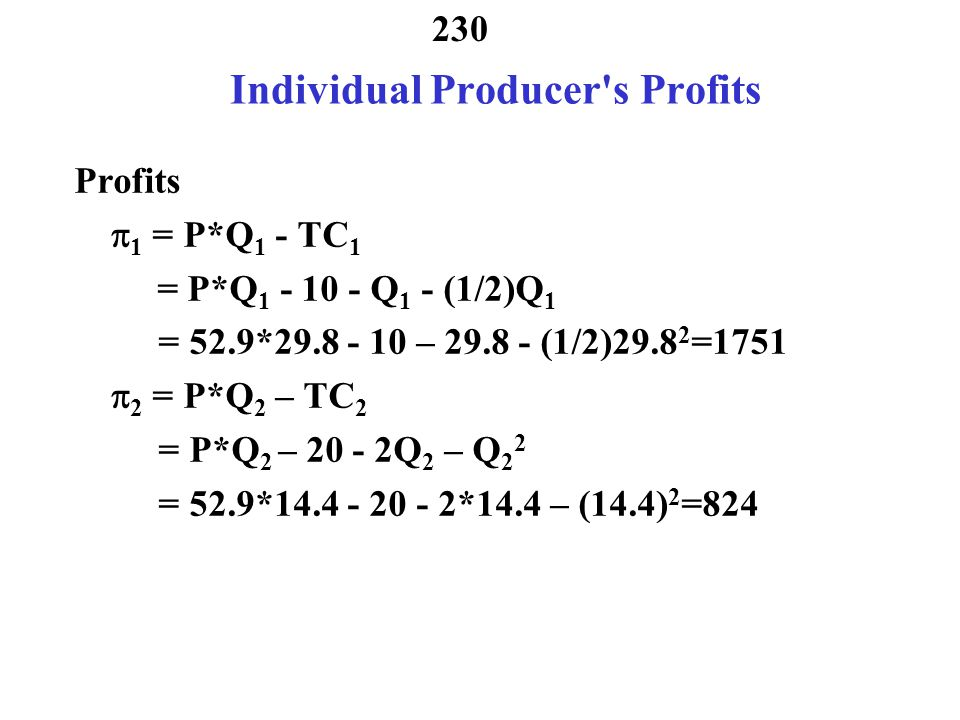 Individual Producer s Profits