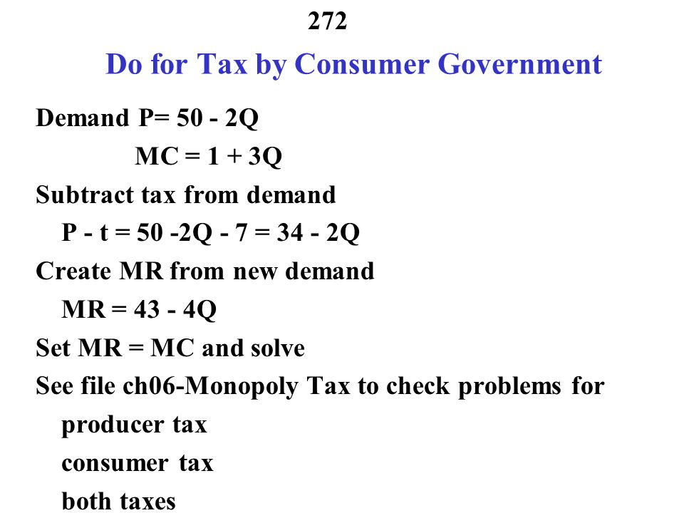 Do for Tax by Consumer Government