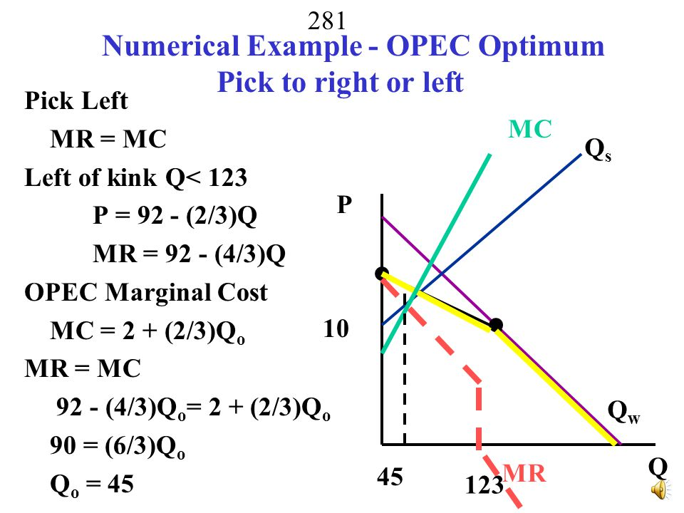 Numerical Example - OPEC Optimum Pick to right or left