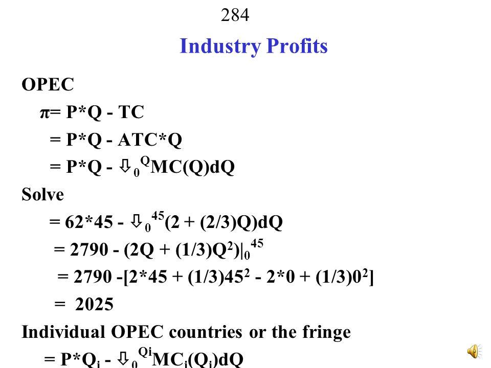 Industry Profits OPEC π= P*Q - TC = P*Q - ATC*Q = P*Q - 0QMC(Q)dQ