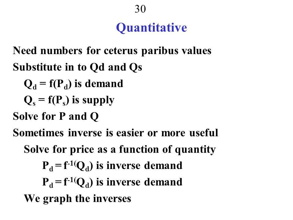 Quantitative Need numbers for ceterus paribus values