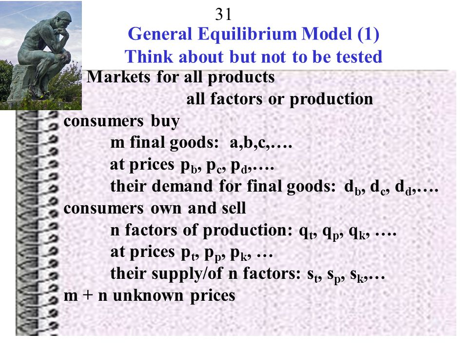 General Equilibrium Model (1) Think about but not to be tested