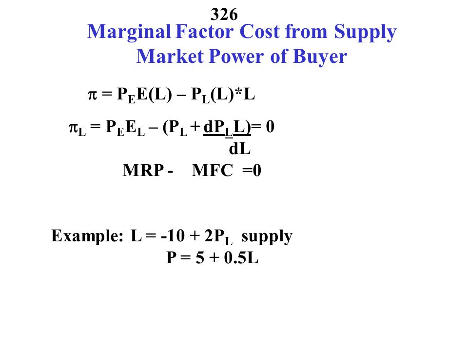 Marginal Factor Cost from Supply Market Power of Buyer