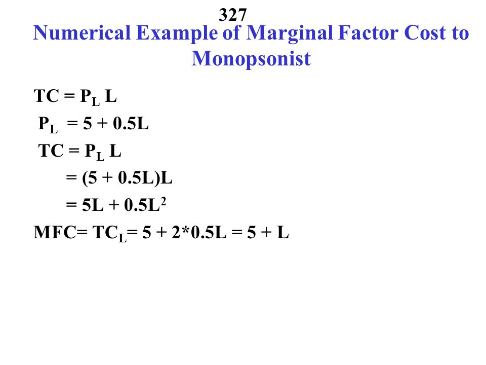 Numerical Example of Marginal Factor Cost to Monopsonist