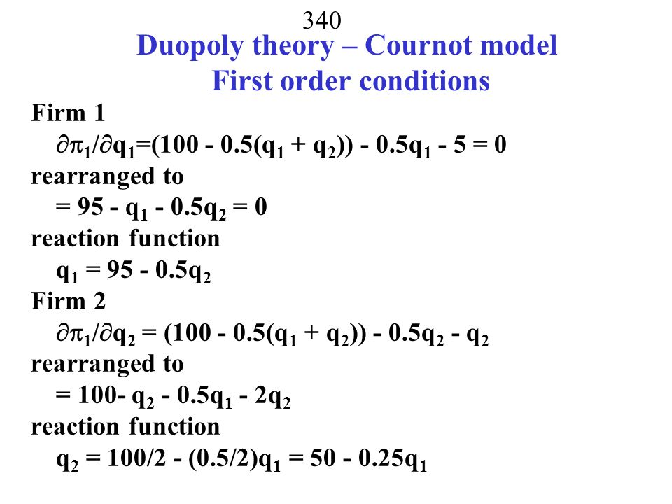 Duopoly theory – Cournot model First order conditions