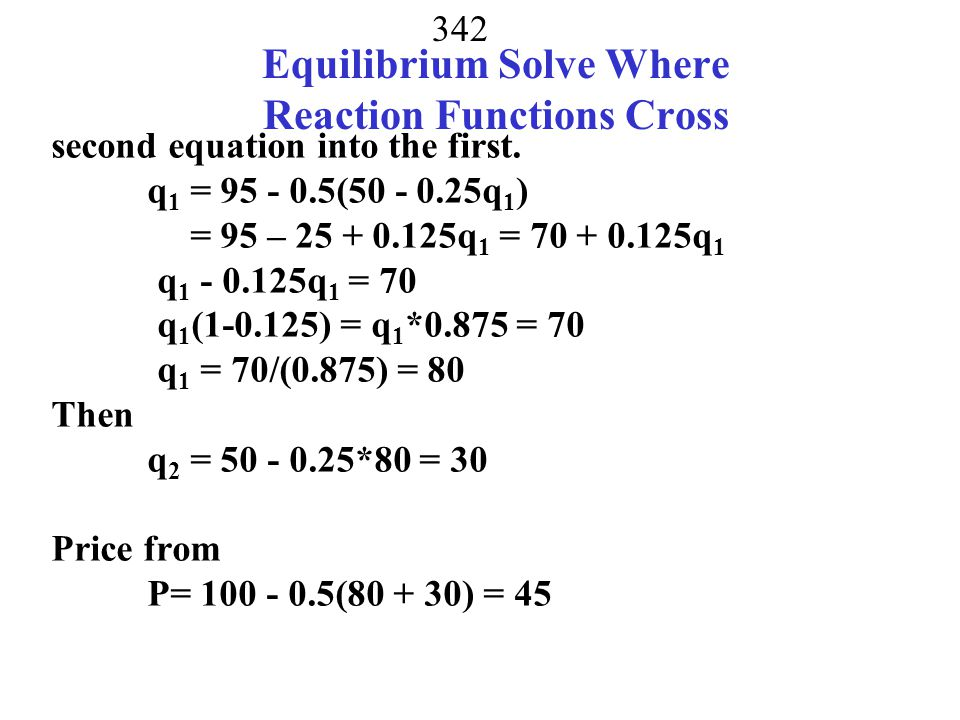 Equilibrium Solve Where Reaction Functions Cross