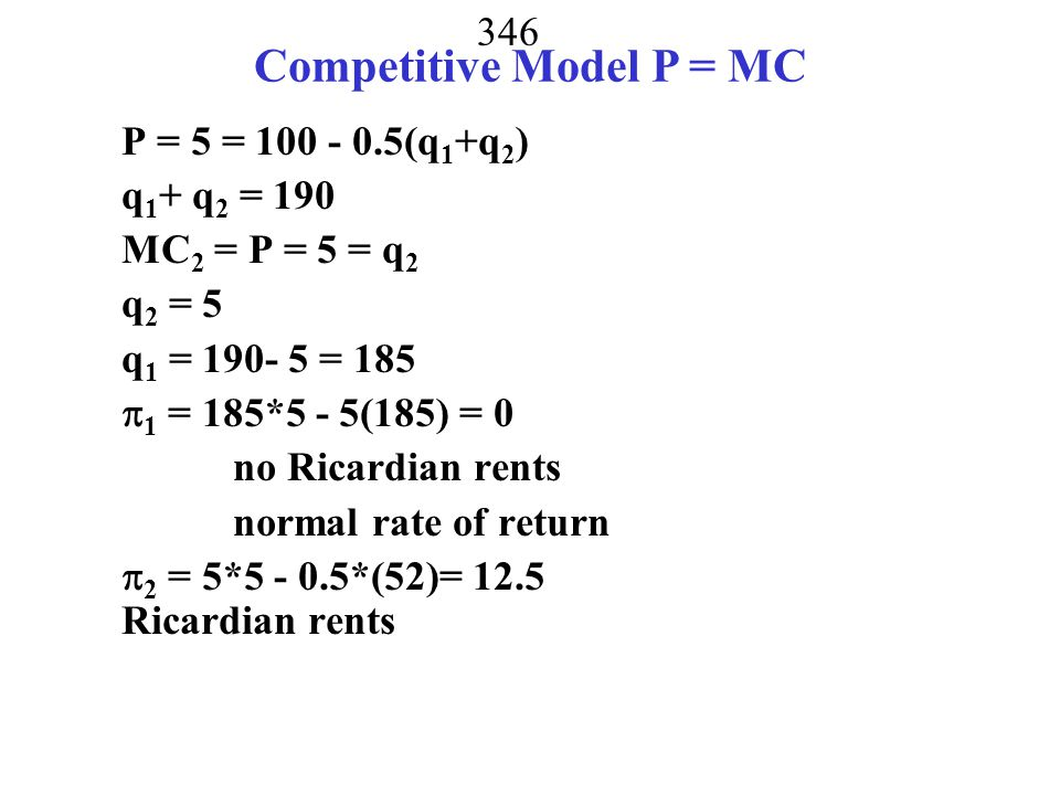 Competitive Model P = MC
