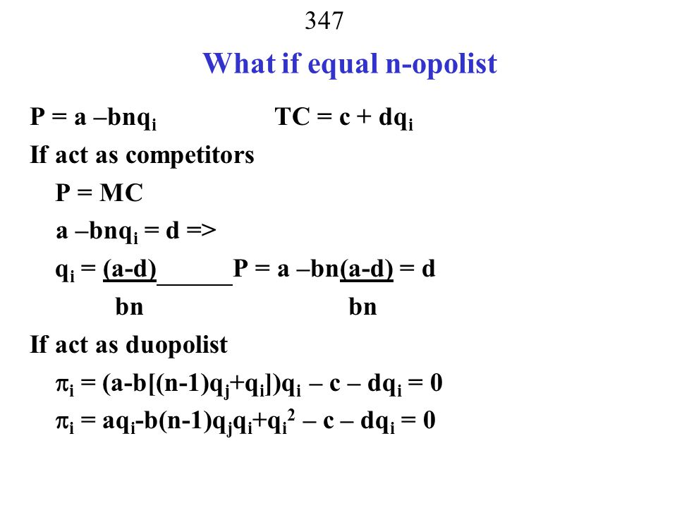 What if equal n-opolist
