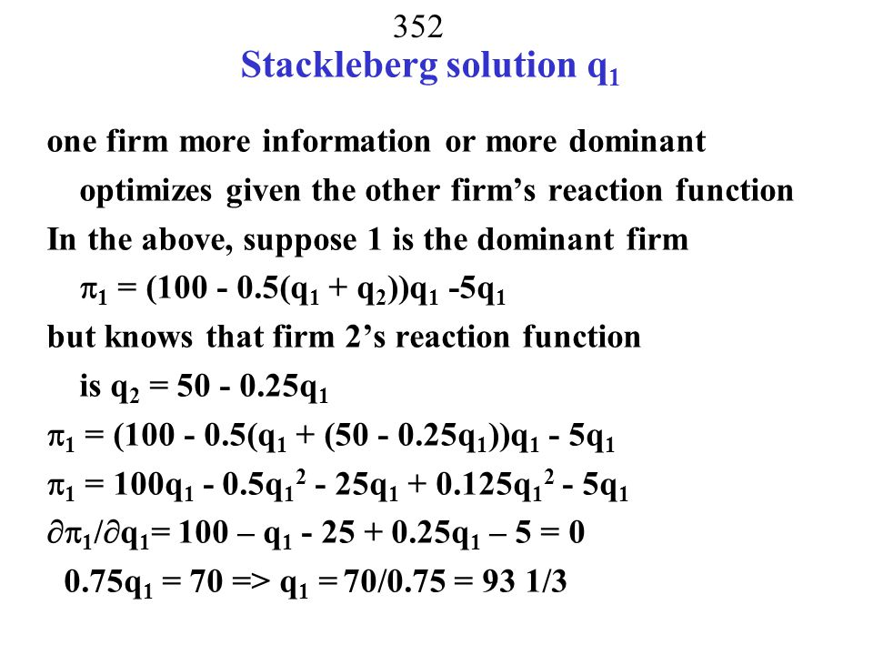 Stackleberg solution q1