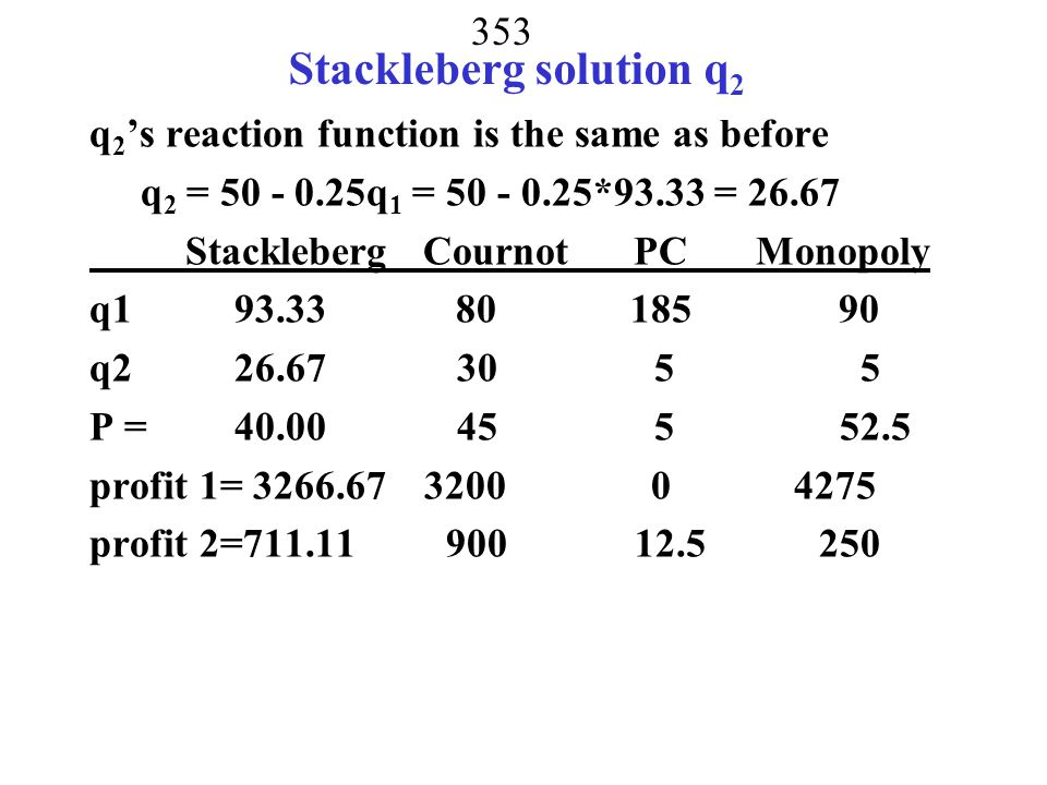 Stackleberg solution q2