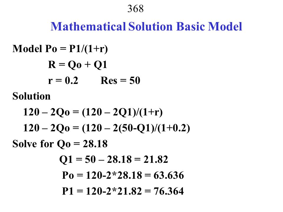 Mathematical Solution Basic Model