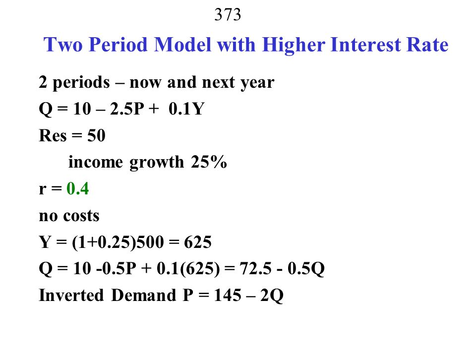 Two Period Model with Higher Interest Rate
