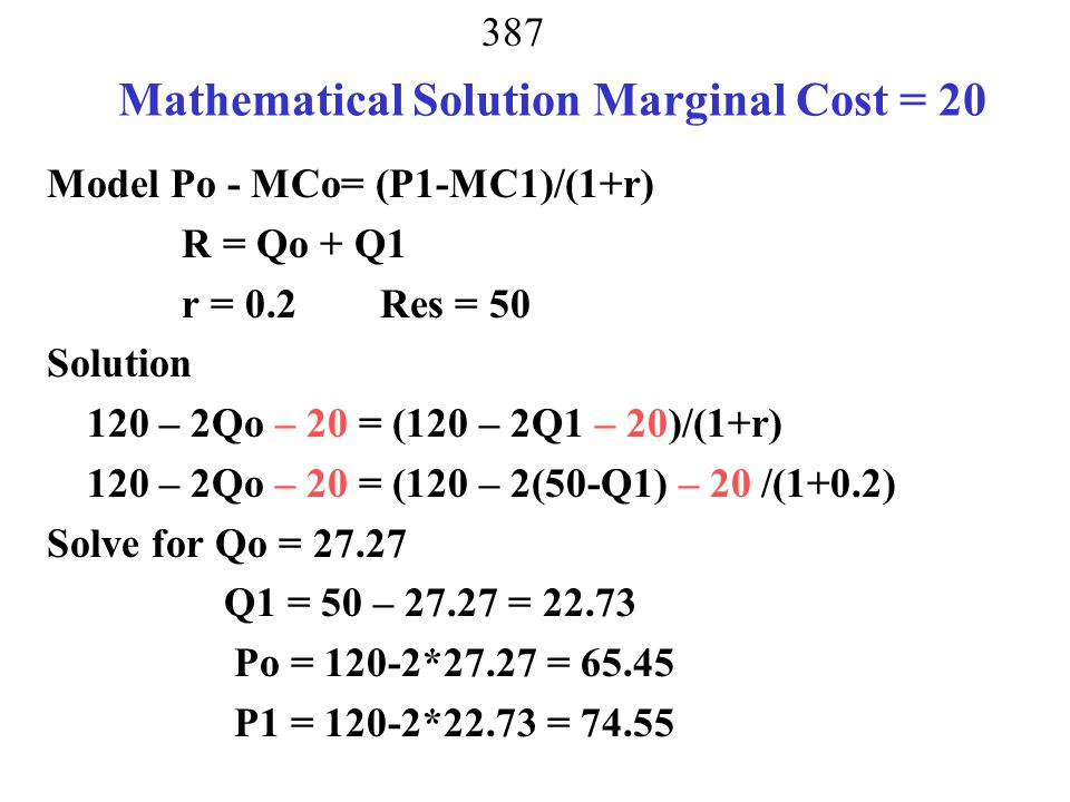 Mathematical Solution Marginal Cost = 20