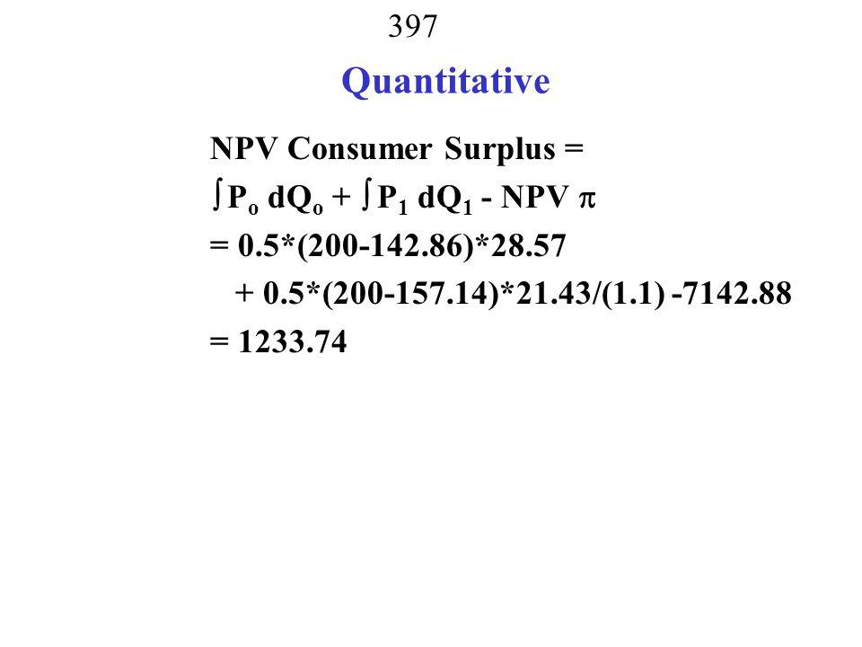 Quantitative NPV Consumer Surplus =  Po dQo +  P1 dQ1 - NPV 
