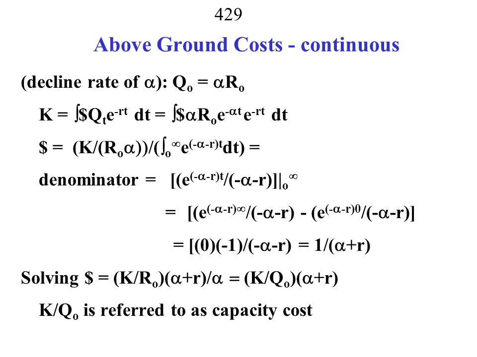 Above Ground Costs - continuous