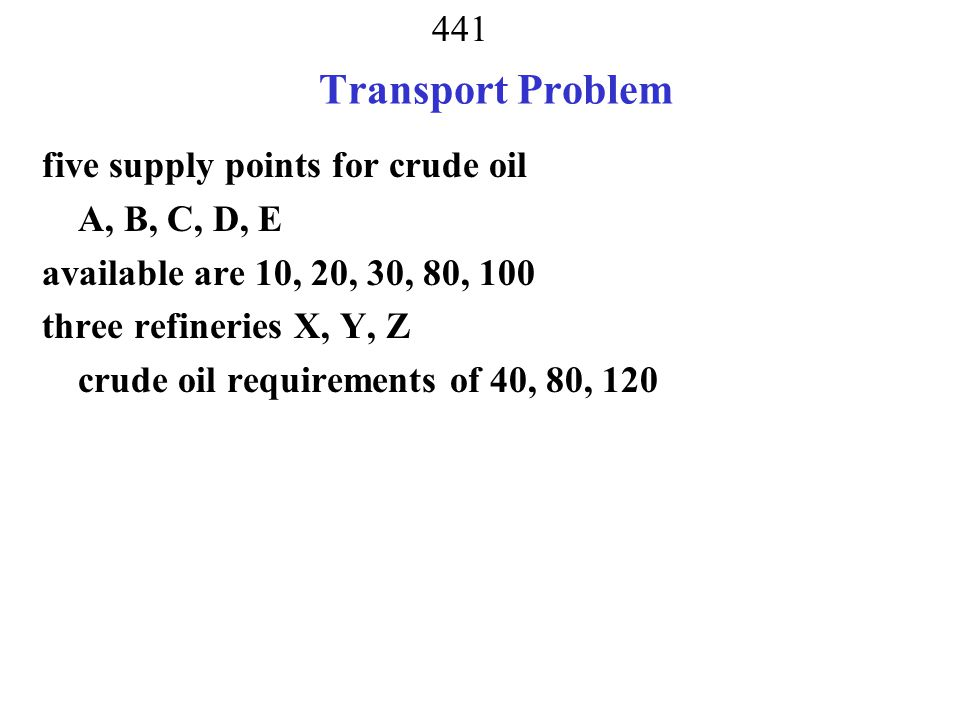 Transport Problem five supply points for crude oil A, B, C, D, E