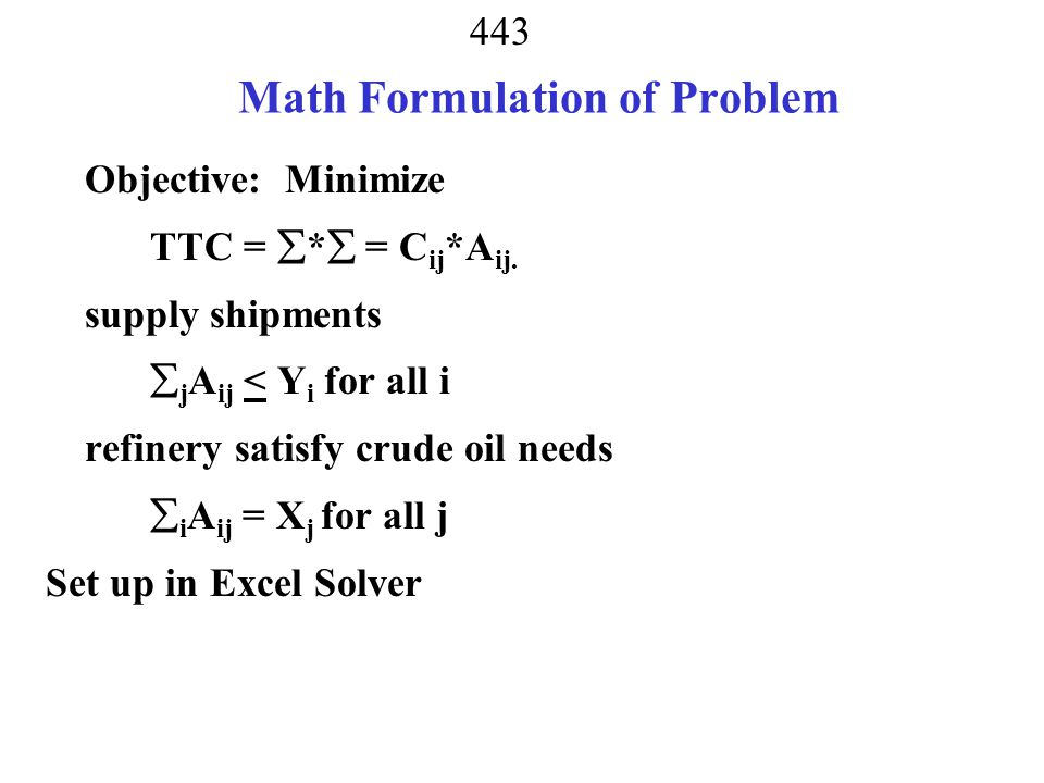 Math Formulation of Problem