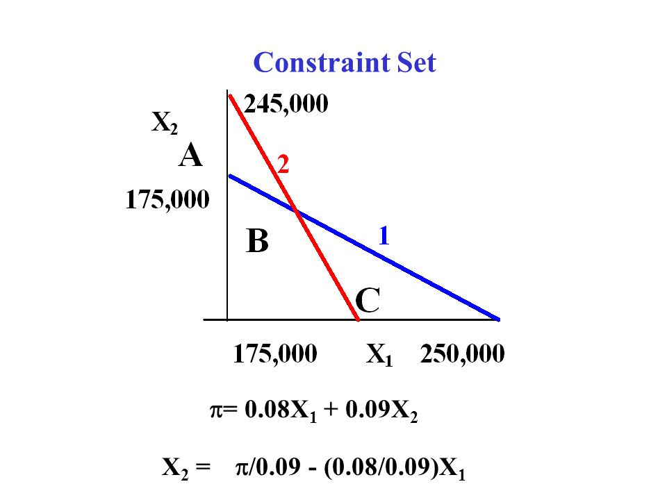Constraint Set = 0.08X1 + 0.09X2 X2 = /0.09 - (0.08/0.09)X1