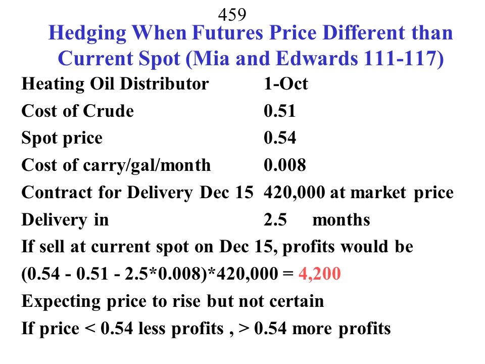 Hedging When Futures Price Different than Current Spot (Mia and Edwards 111-117)