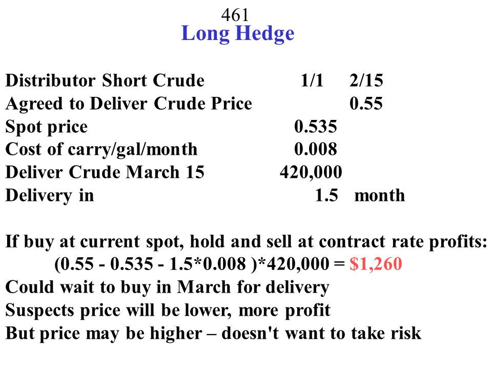 Long Hedge Distributor Short Crude 1/1 2/15
