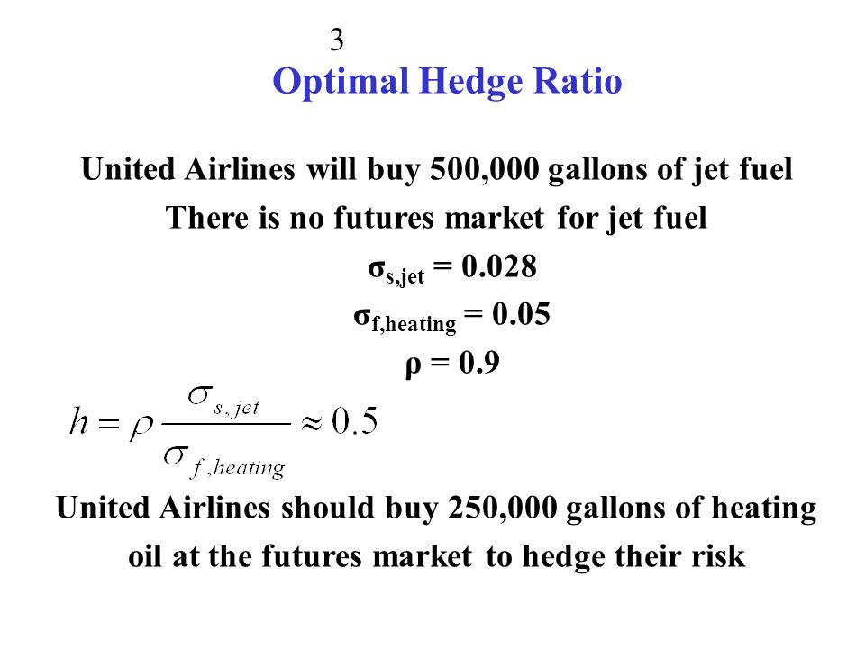 Optimal Hedge Ratio United Airlines will buy 500,000 gallons of jet fuel. There is no futures market for jet fuel.