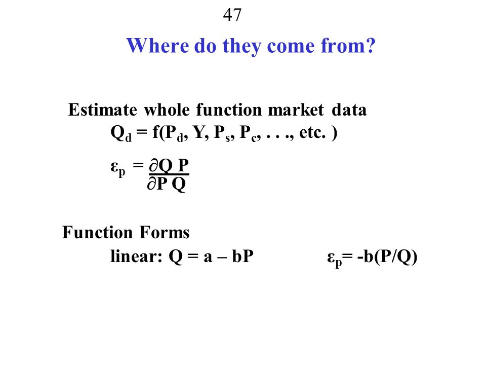 Where do they come from Estimate whole function market data