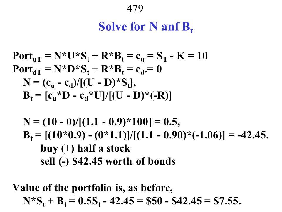 Solve for N anf Bt PortuT = N*U*St + R*Bt = cu = ST - K = 10