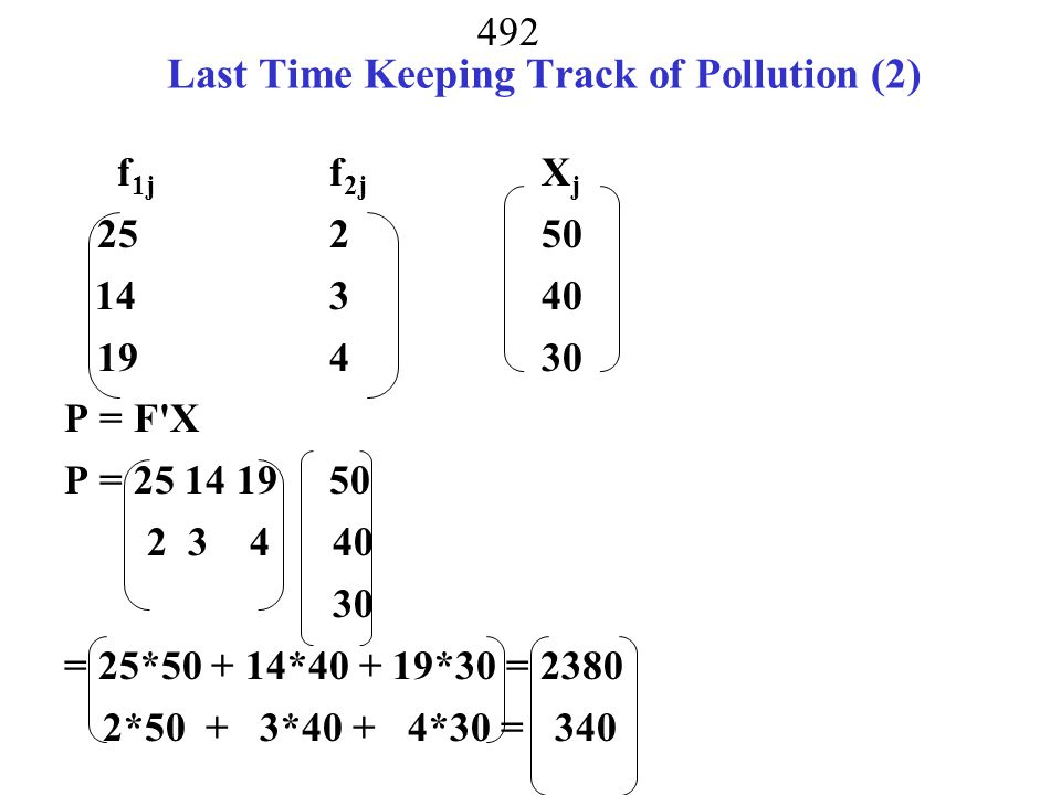Last Time Keeping Track of Pollution (2)