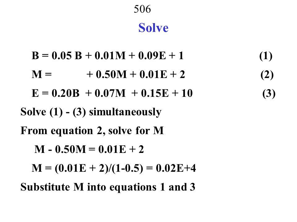 Solve B = 0.05 B + 0.01M + 0.09E + 1 (1) M = + 0.50M + 0.01E + 2 (2)