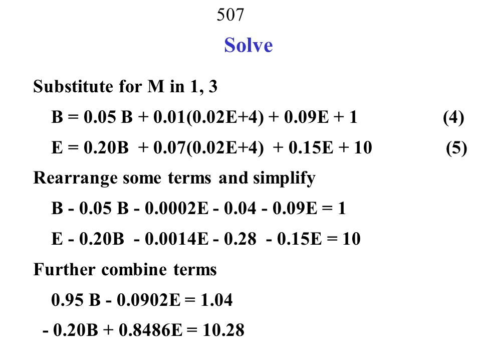 Solve Substitute for M in 1, 3