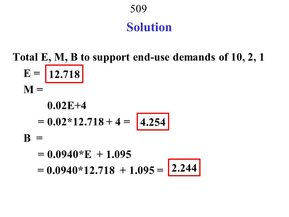 Solution Total E, M, B to support end-use demands of 10, 2, 1 E = M = 0.02E+4 = 0.02*12.718 + 4 = B = = 0.0940*E + 1.095 = 0.0940*12.718 + 1.095 =
