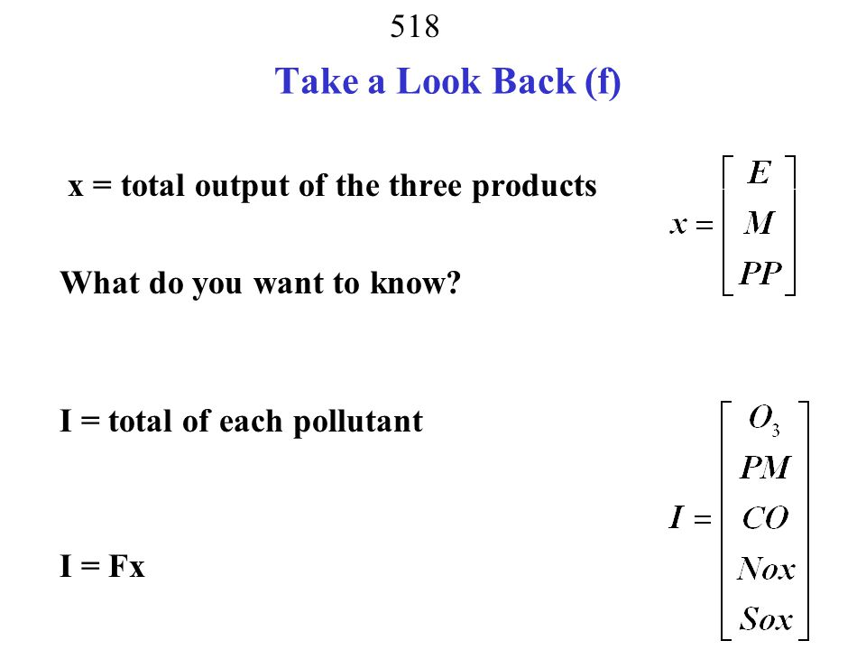 Take a Look Back (f) x = total output of the three products What do you want to know.