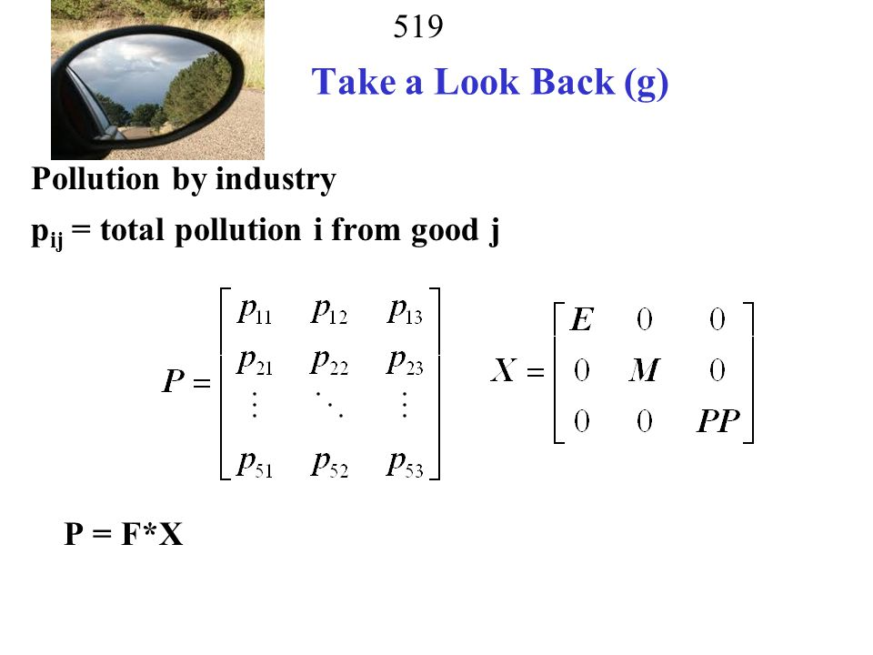 Take a Look Back (g) Pollution by industry pij = total pollution i from good j P = F*X