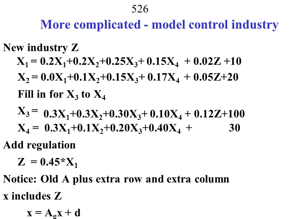 More complicated - model control industry