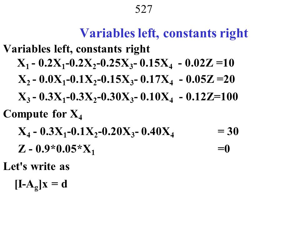 Variables left, constants right