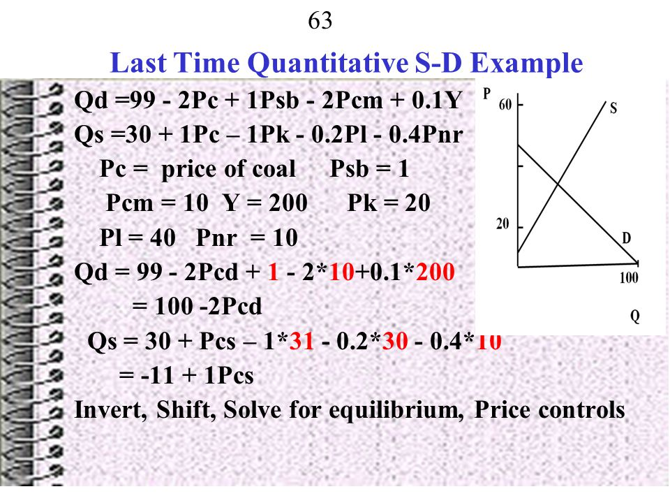 Last Time Quantitative S-D Example