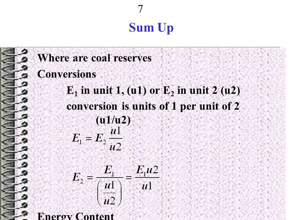 Sum Up Where are coal reserves Conversions