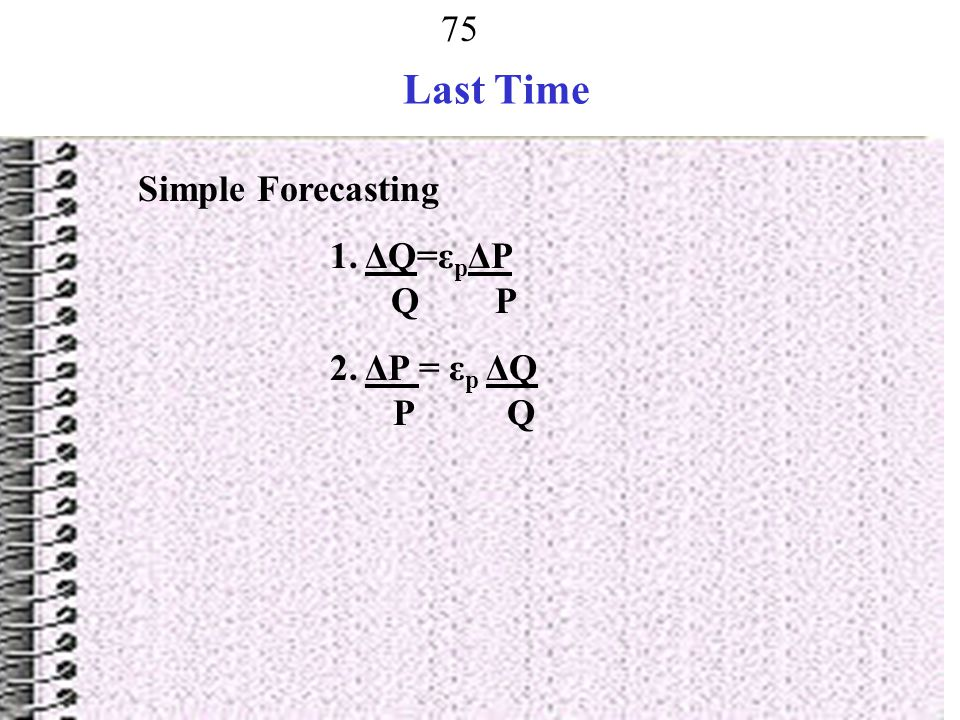 Last Time Simple Forecasting 1. ΔQ=εpΔP Q P 2. ΔP = εp ΔQ P Q