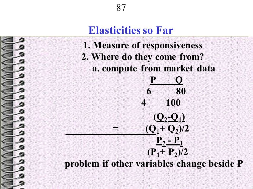 Elasticities so Far 1. Measure of responsiveness
