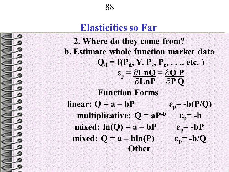 Elasticities so Far 2. Where do they come from