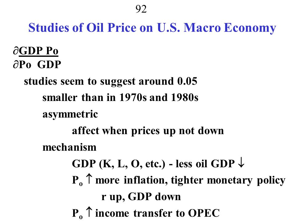 Studies of Oil Price on U.S. Macro Economy