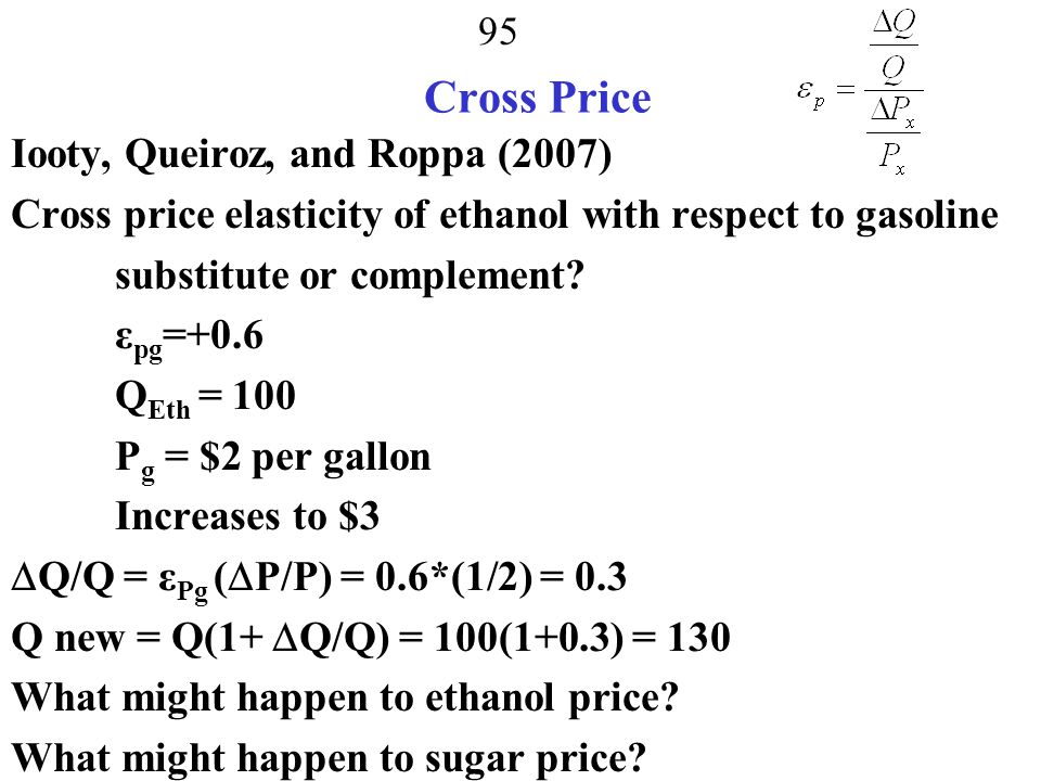 Cross Price Iooty, Queiroz, and Roppa (2007)