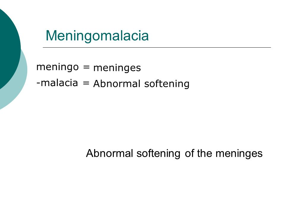 Meningomalacia Abnormal softening of the meninges meningo = meninges