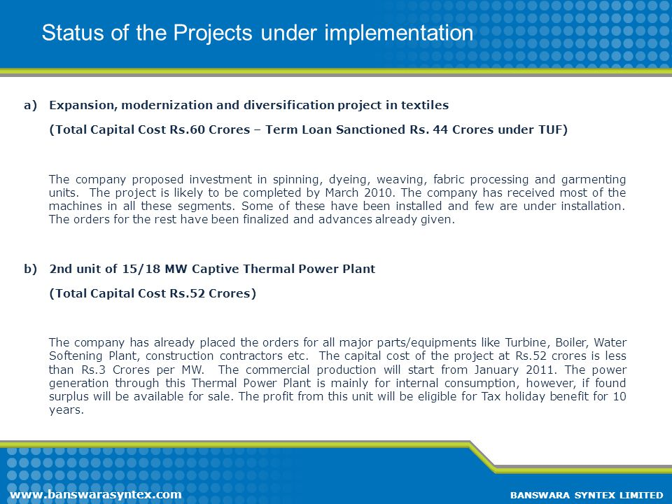 Status of the Projects under implementation
