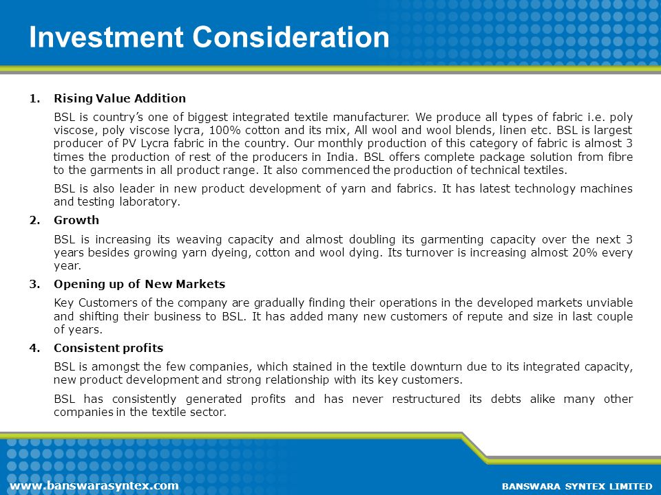 Investment Consideration