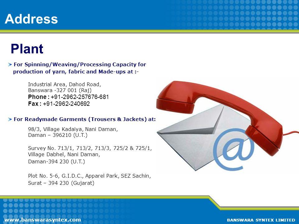 Address Plant Phone : +91-2962-257676-681 Fax : +91-2962-240692