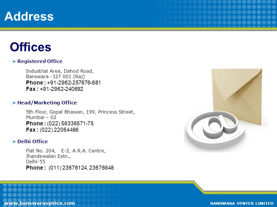 Address Offices Phone : +91-2962-257676-681 Fax : +91-2962-240692