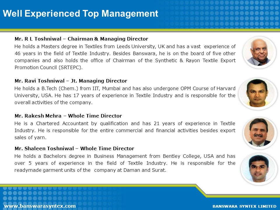 Well Experienced Top Management