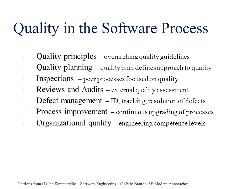 Quality in the Software Process