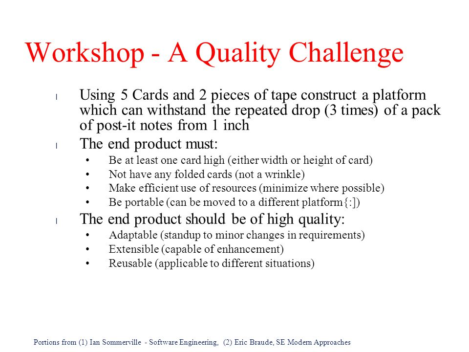 Workshop - A Quality Challenge